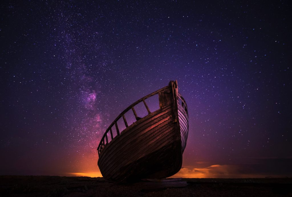 ship hull against starry sky