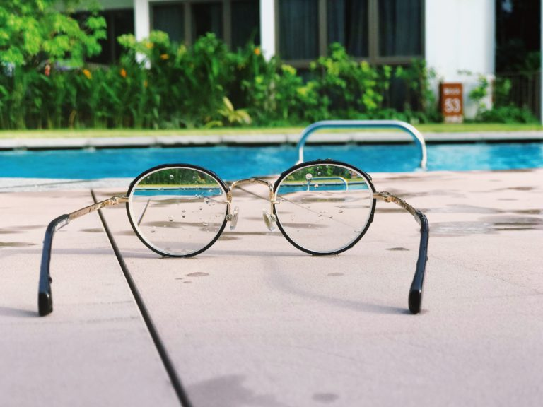 pool viewed through glasses
